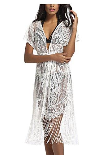 Assivia Summer Womens Beach Wear Cover up Swimwear Beachwear Bikini Lace Floral Cardigan Long Maxi Beach Dress (Summer Beachwear)