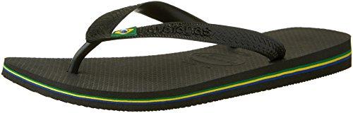 Havaianas Men's Brasil Logo Flip Flop ,Black,41/42 BR (9 M US)