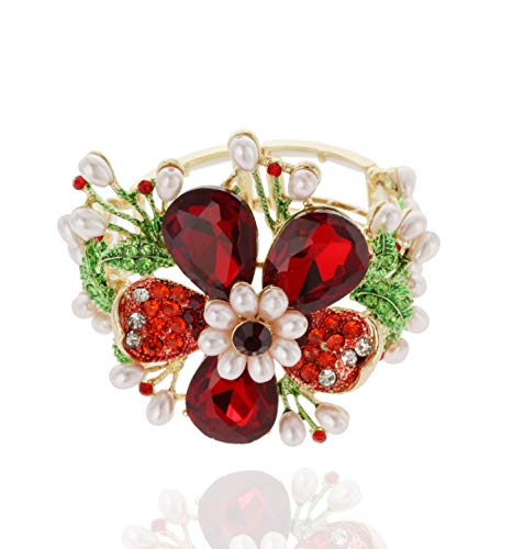 SP Sophia Collection Duchess Daisy Floral Bouquet Crystal Rhinestone Stretchable Corsage Bracelet in Sweetpea Scarlet