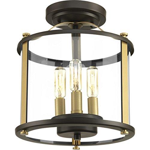 Progress Lighting P550011-020 Squire Antique Bronze Three-Light semi-Flush Convertible,