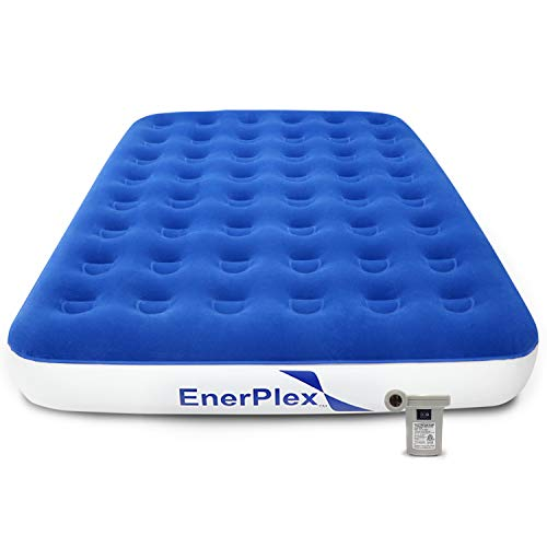 EnerPlex Never-Leak Queen Camping Airbed with High Speed Pump Luxury Queen Size Air Mattress Single High Inflatable Blow Up Bed for Home Camping Travel 2-Year Warranty - Blue/White