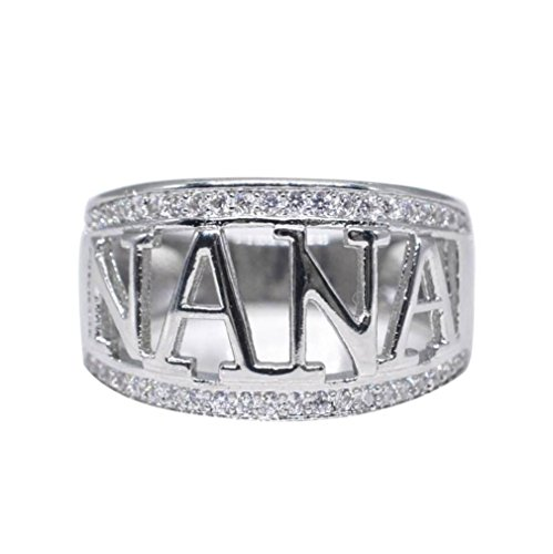 OldSch001 Womens Cubic Zirconia Rings,Nana Band Ring Jewelry Birthday Present (Silver, 11)