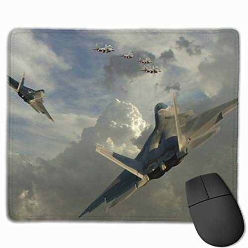 Non-Slip Rubber Base Mousepad for Laptop Computer PC Personality Designs Gaming Mouse Pad Mat (Dogfight Jet Fighter Art, 11.81 X 9.84 Inch) ()