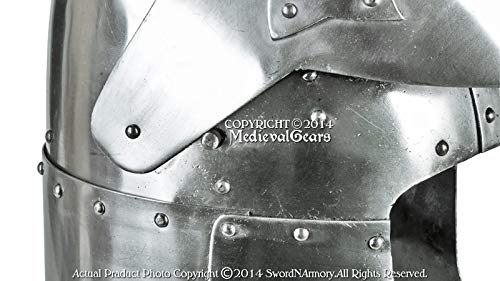 Functional 16G Steel Medieval Knight Pig Face Bascinet Helmet WMA SCA LARP Armor by Medieval Gears (Image #5)