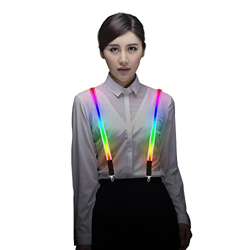 Light Up LED Suspenders Adjustable One-size for Party Concert Men&Women - Rainbow ()