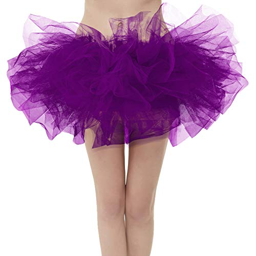 Girstunm Women's Classic Layers Fluffy Costume Tulle Bubble Skirt Grape-Standard Size -