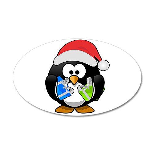 35x21 Oval Wall Vinyl Sticker Little Round Penguin - Christmas Presents