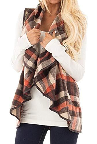 神聖おしゃれな口述するVITryst 女性ラペルノースリーブ格子縞は、オープンフロントコントラストベストコートポケット