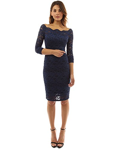 PattyBoutik Women Off Shoulder Floral Lace Twin Set Dress (Navy Blue Medium) (Wedding Dresses With Long Sleeves And Lace)