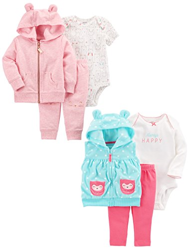 Carter's Baby Girls' 6-Piece Jacket and Vest Set, Pink Heather/Light Blue 9 Months (Set Jacket Outfit)