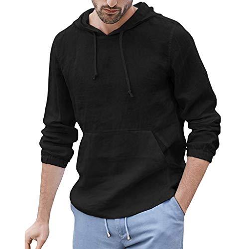 LISTHA Men's Hoodie Baggy Cotton Linen Long Sleeve Retro Pocket T Shirts Tops -