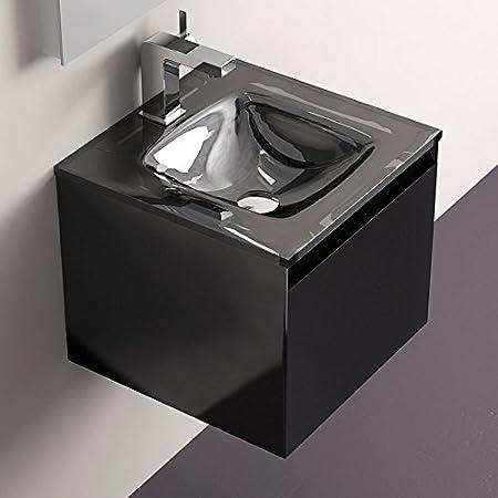 Meuble De Salle De Bain Glass Noir Brillant 40 Cm Amazon Fr