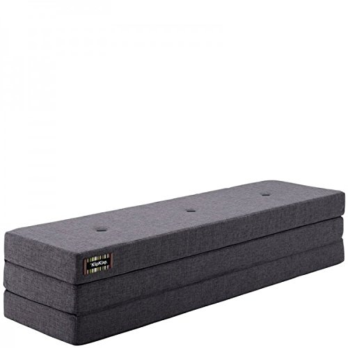 by KlipKlap 3 fold Multipurpose Furniture - Bluegrey With Grey Button, Normal length 180 cm
