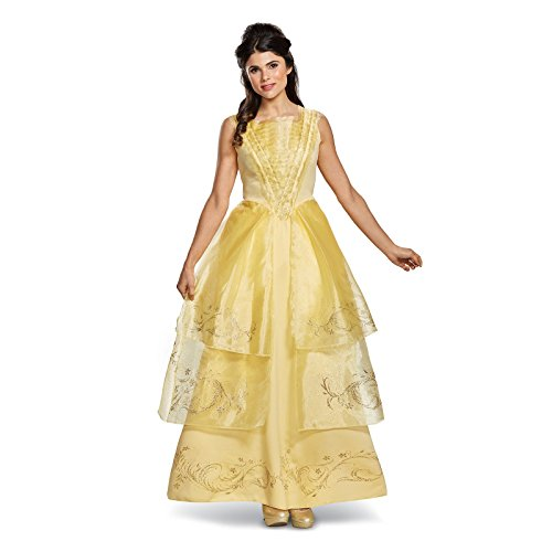 [Disney Women's Belle Ball Gown Deluxe Adult Costume, Yellow, Medium] (Belle Halloween Costumes For Adults)