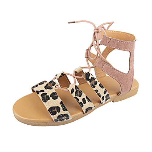 oes Cutout Shoe Lace-Up Open Toe Ankle Strappy Ankle Wrap Summer Dress Sandals Pink ()
