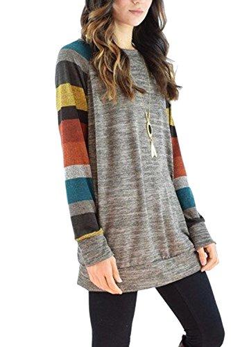 Suéter Casual sueltos Colorblock Patchwork de las mujeres Yellow
