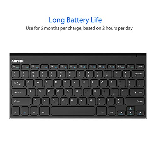 Arteck 2.4G Wireless Keyboard Stainless Steel Ultra Slim Keyboard for Computer/Desktop/PC/Laptop/Surface/Smart TV and Windows 10/8 / 7 / Vista/XP Built in Rechargeable Battery