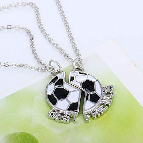 (Forever Enamel 2 Pcs/Set Soccer Football Pendant Jewelry Necklace Best Friends)