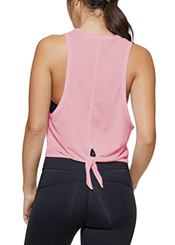 Mippo Women's Sexy Workout Tank Tops Half See Through Mesh Yoga Tops Activewear Workout Clothes Sleeveless Open Tie Back T Shirt Muscle Tank Fitness Sports Running Athletic Racerback Tank Tops Pink S ()