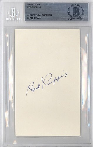 Red Ruffing Autographed Signed 3x5 Index Card New York Yankees - Beckett BAS - Autographed Signed 3x5 Card Index