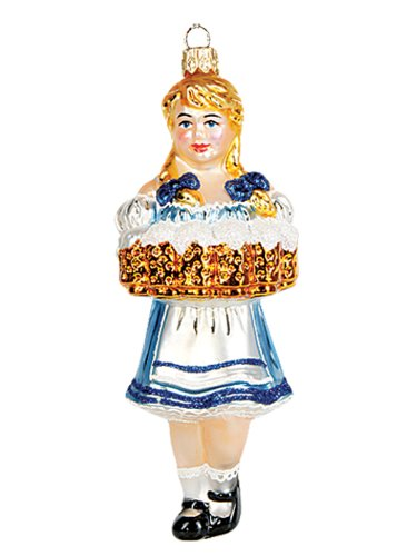 Pinnacle Peak Trading Company Bavarian Oktoberfest Beer Waitress Girl Polish Blown Glass Christmas (Poland Glass Ornaments)