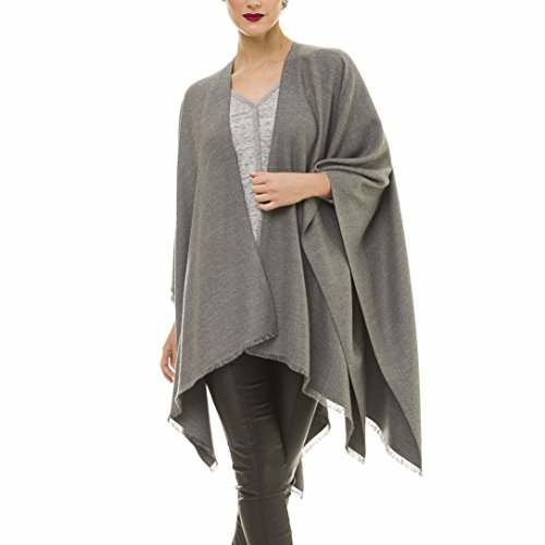 Cardigan Poncho Cape: Women Elegant Gray Reversible Cardigan Shawl Wrap Sweater Coat for Winter (Gray)