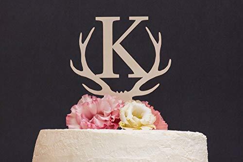 (Deer Antlers topper Monogram wedding cake topper Personalized cake topper Rustic wooden cake topper Single letter cake topper)