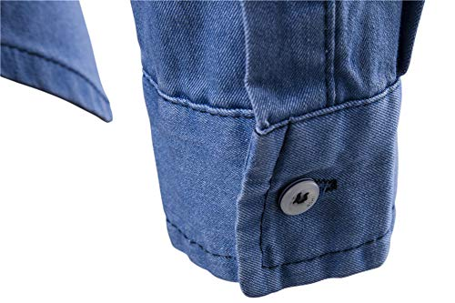 Hombres de Blusa Camisas Azul Delgados Vaqueros Tops Retro Largos MISSMAOM Delgados Claro Denim wqUEfwF
