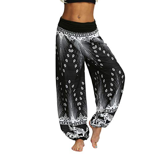 CCatyam Yoga Pants for Women, Trousers Harem Baggy Boho Print Loose Casual Fashion White