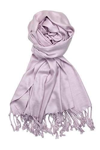 Achillea Large Soft Silky Pashmina Shawl Wrap Scarf in Solid Colors (Light - Warm Lavender Wrap