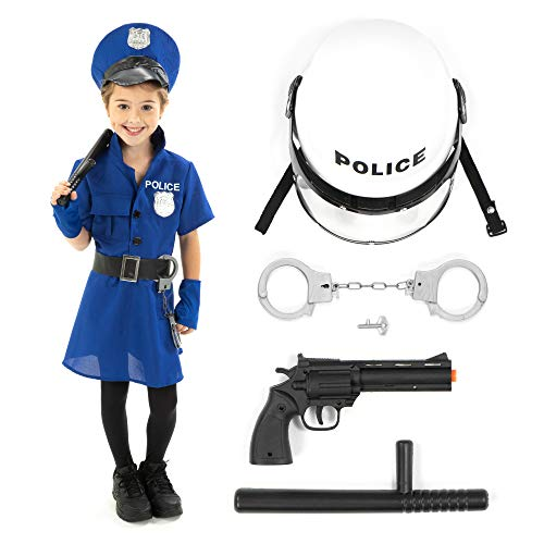 Toddler Biker Girl Halloween Costume (Police Officer Halloween Costume Accessory Kit - Policewoman Kids Outfit & Props (Youth)