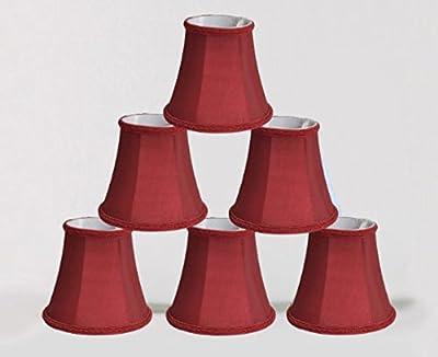 Urbanest 1100469c set of 6 Chandelier Mini Lamp Shade 5-inch, Bell, Clip On, Burgundy