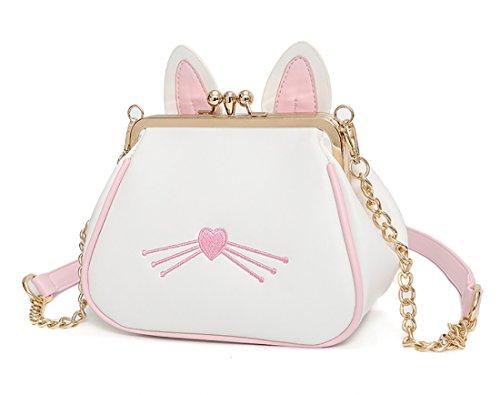 XMLiZhiGu Cat Bags 1 Girls' White Bag Leather Cute Shoulder Handbag Kitty Pu Purse Ear Women's Crossbody rrz4Aw6