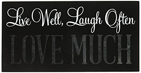 Malden International Designs Laser Cut Wood Block Sign Live Well, Laugh Often, Love Much Wall Décor Box Sign, 5x10, - Sign Blocks Decor