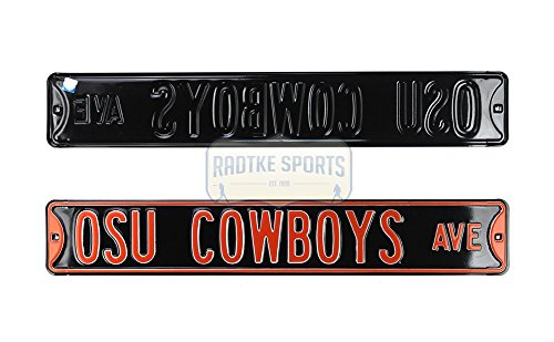 OSU Cowboys Ave Officially Licensed Authentic Steel 36x6 Orange & Black NCAA Street Sign