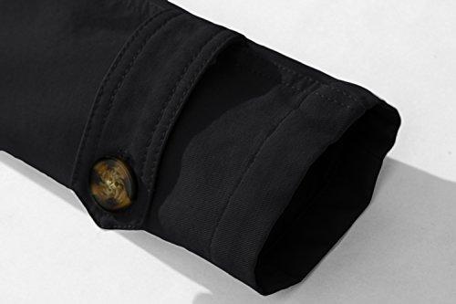Gira Monopetto Cappotto Della Trench Giù Da Giacca Uomo Lungo Il Nero Xuyiey Cappotti Militari Casuali Sportiva Tuta Dimagrisce Metà Manicotto 5EqnxT6