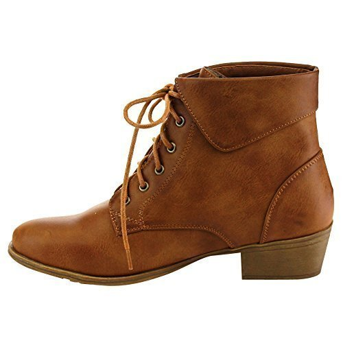 TOP Moda EC89 Women's Foldover Lace Up Low Chunky Heel Ankle Booties (8.5, Tan)