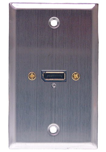 Philmore Stainless Steel Wall Plate with 20-Pin Display Port Connector and LED Power Indicator, - 20 Displayport Pin