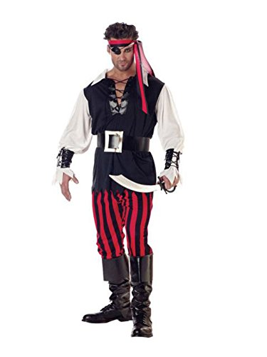 California Costumes Men's Adult-Cutthroat Pirate, Black/Red/White, XL (44-46) -