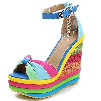 Slip On Women Rainbow High Wedge Heel Platform Colorful Thong Sandals Shoes