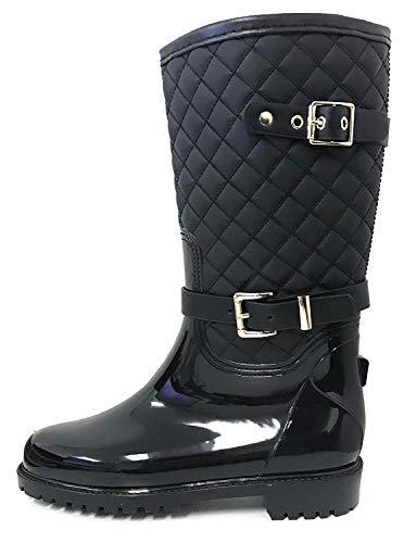 G4U Women's Rain Boots Multiple Styles Color Mid Calf Wellies Buckle Fashion Rubber Knee High Snow Shoes (5 B(M) US, Black-6)