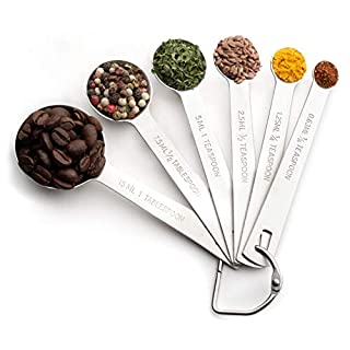 Bellemain Stainless Steel Measuring Spoon Set with D-Ring Holder, for Dry and Liquid Ingredients (6 piece set)