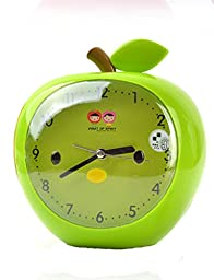 Cartoon Apple Green Mute Table Desk Classical Style Alarm Clocks For Kids Students