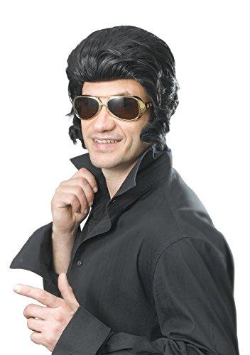 Black Elvis Wig With Big Sideburns]()