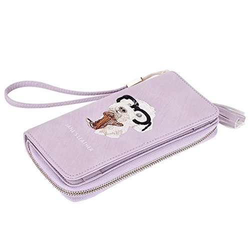 Women's Zip Long Wallet Multi-functional Credit Card Wallet Cell Phone Holder Large Capacity Wrist Strap Puppy Embroidery