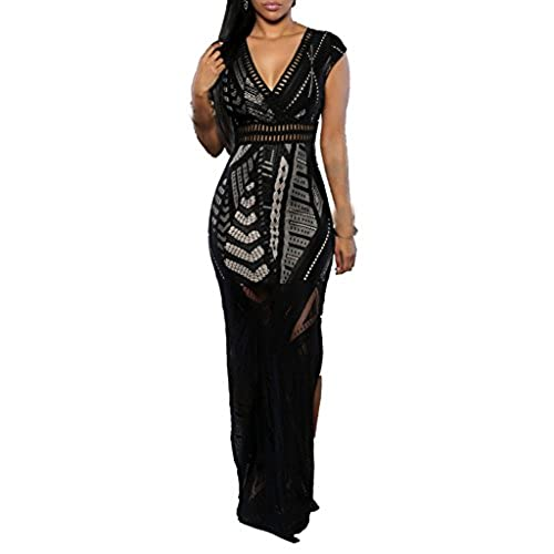 ZKESS Women Lace Ball Formal Prom Bodycon Dress L Size Black 0