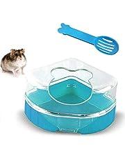 Macabolo Hamster Zand Badkamer, kunststof zand droogbad container sauna toilet zandbak met schep voor kleine dieren hamster Gerbil ratten muizen