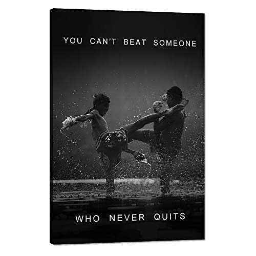 Inspirational Wall Art Motivational Fighting Canvas Painting Muay thai Pictures Thai Boxing Posters and Prints Artwork Modern Inspiring Office Living Room Sport Gym Decorations Framed -