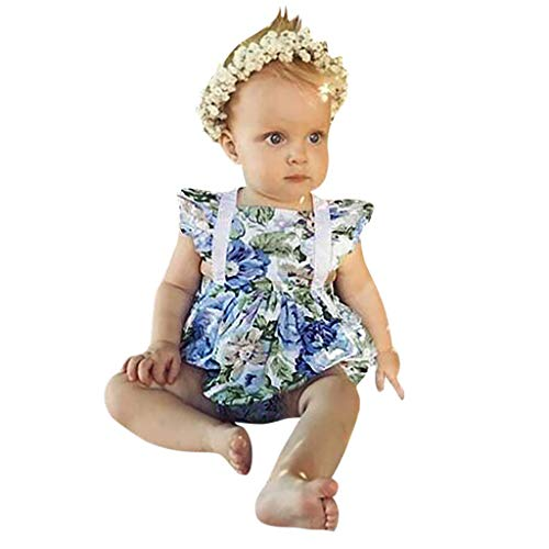 FIRERO Baby Flying Sleeve Lace Flower Print Floral Frilled Halter One-piece Hoodie Folding Dress + Hair Strap Set