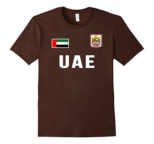 Mens UAE T-shirt United Arab Emirates Flag Retro Soccer Style 2XL Brown